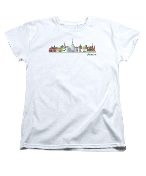 Moscow Skyline Colored Women's T-Shirt (Standard Cut) by Pablo Romero