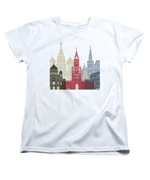 Moscow Skyline Poster Women's T-Shirt (Standard Cut) by Pablo Romero