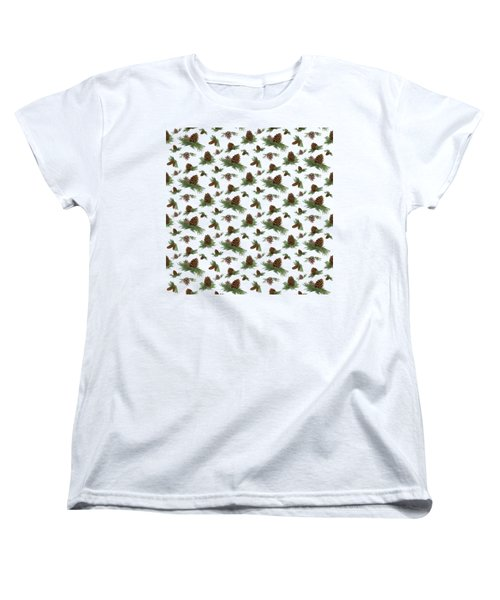 Mountain Lodge Cabin In The Forest - Home Decor Pine Cones Women's T-Shirt (Standard Cut) by Audrey Jeanne Roberts