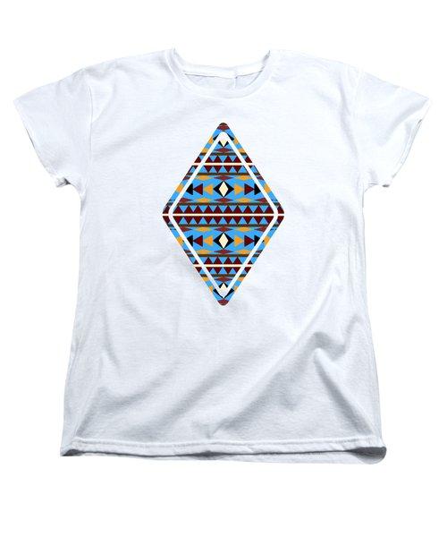 Navajo Blue Pattern Art Women's T-Shirt (Standard Cut) by Christina Rollo