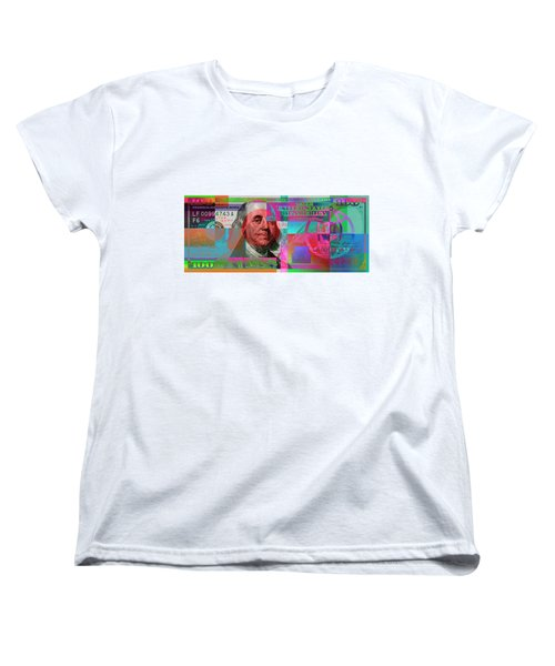 New 2009 Series Pop Art Colorized Us One Hundred Dollar Bill  V.3.2 Women's T-Shirt (Standard Cut) by Serge Averbukh