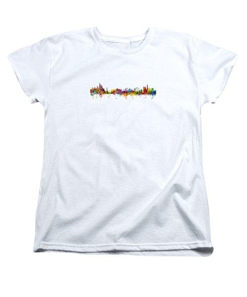 New York And London Skyline Mashup Women's T-Shirt (Standard Cut) by Michael Tompsett