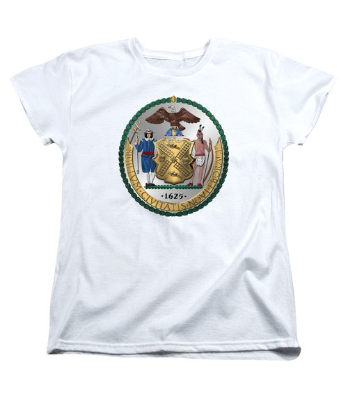 New York City Coat Of Arms - City Of New York Seal Over White Leather  Women's T-Shirt (Standard Cut) by Serge Averbukh