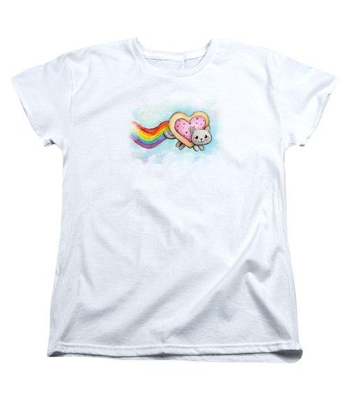 Nyan Cat Valentine Heart Women's T-Shirt (Standard Cut) by Olga Shvartsur