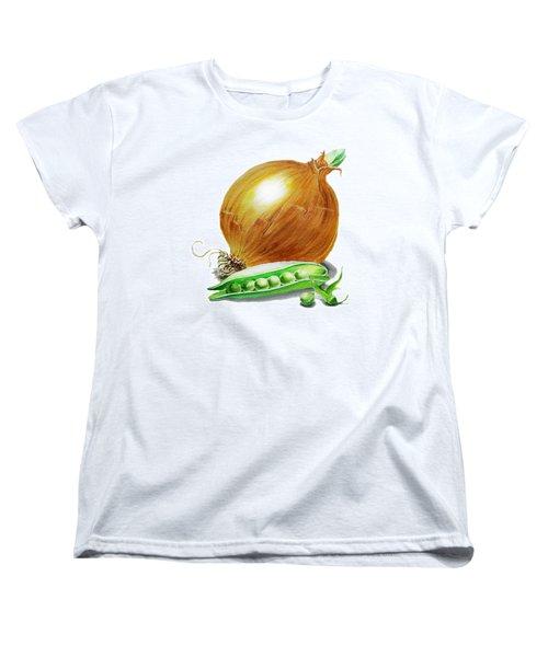 Onion And Peas Women's T-Shirt (Standard Cut) by Irina Sztukowski