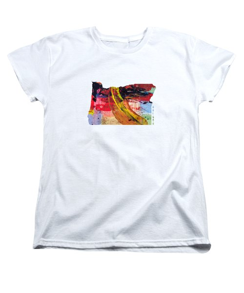 Oregon Map Art - Painted Map Of Oregon Women's T-Shirt (Standard Cut) by World Art Prints And Designs