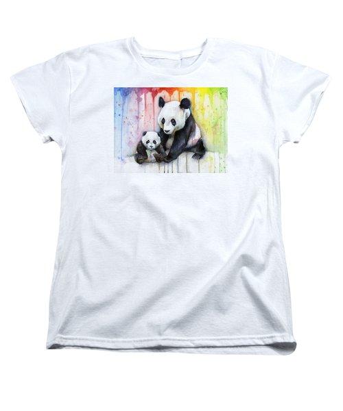 Panda Watercolor Mom And Baby Women's T-Shirt (Standard Cut) by Olga Shvartsur