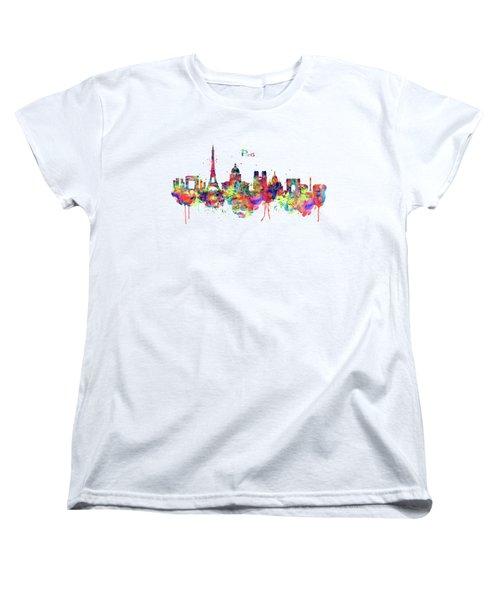 Paris Skyline 2 Women's T-Shirt (Standard Cut) by Marian Voicu