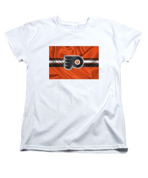 Philadelphia Flyers - 3 D Badge Over Silk Flag Women's T-Shirt (Standard Cut) by Serge Averbukh