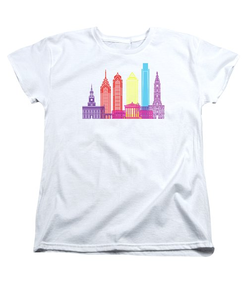 Philadelphia Skyline Pop Women's T-Shirt (Standard Cut) by Pablo Romero