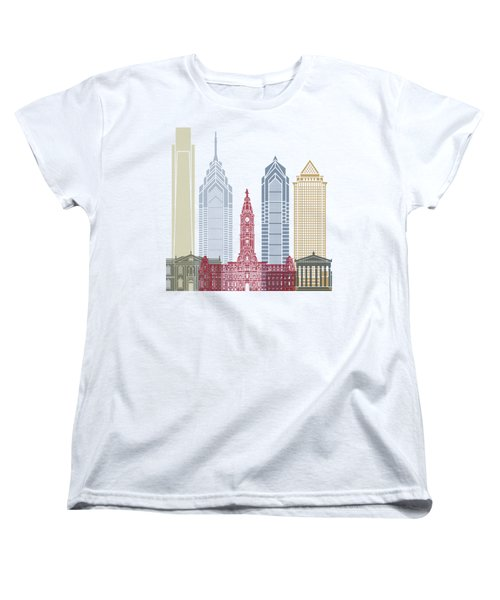 Philadelphia Skyline Poster Women's T-Shirt (Standard Cut) by Pablo Romero