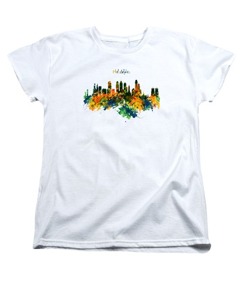Philadelphia Watercolor Skyline Women's T-Shirt (Standard Cut) by Marian Voicu
