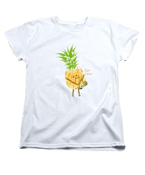 Pineapple Playing Saxophone Women's T-Shirt (Standard Cut) by Neal Battaglia