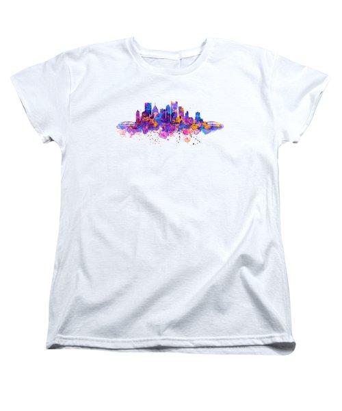Pittsburgh Skyline Women's T-Shirt (Standard Cut) by Marian Voicu