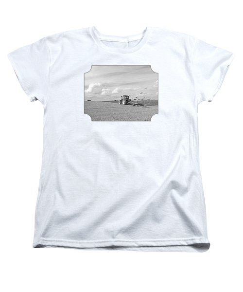 Ploughing After The Harvest In Black And White Women's T-Shirt (Standard Cut) by Gill Billington
