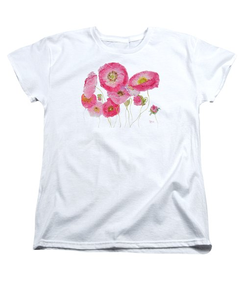 Poppy Painting On White Background Women's T-Shirt (Standard Cut) by Jan Matson