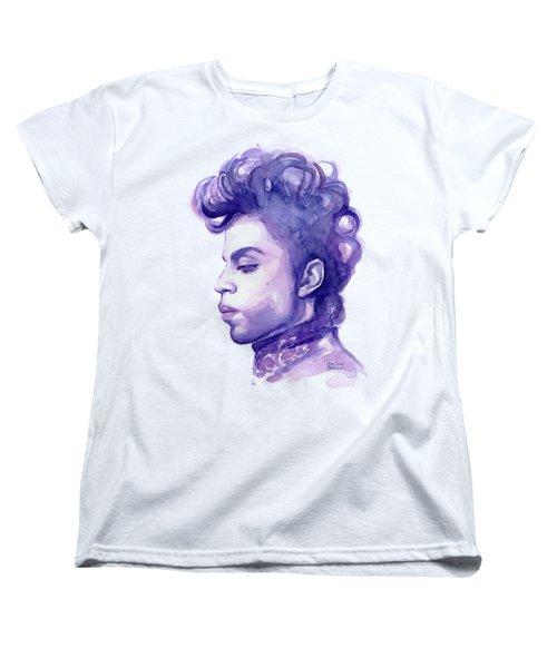 Prince Musician Watercolor Portrait Women's T-Shirt (Standard Cut) by Olga Shvartsur