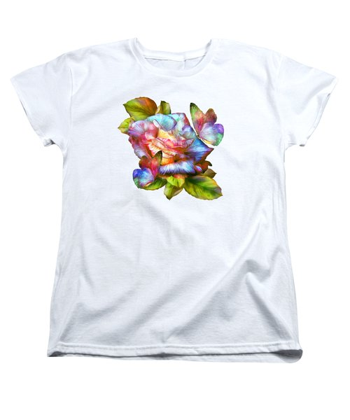 Rainbow Rose And Butterflies Women's T-Shirt (Standard Cut) by Carol Cavalaris