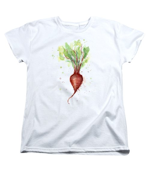 Red Beet Watercolor Women's T-Shirt (Standard Cut) by Olga Shvartsur