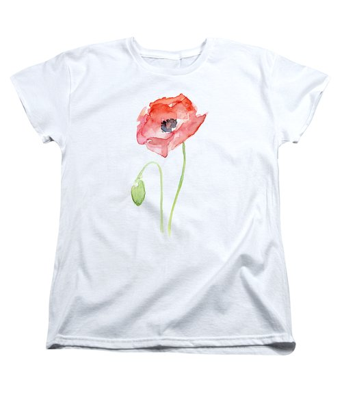 Women's T-Shirt featuring the painting Red Poppy by Olga Shvartsur