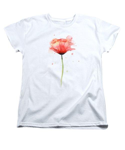 Red Poppy Watercolor Women's T-Shirt (Standard Cut) by Olga Shvartsur