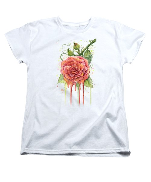 Red Rose Dripping Watercolor  Women's T-Shirt (Standard Cut) by Olga Shvartsur