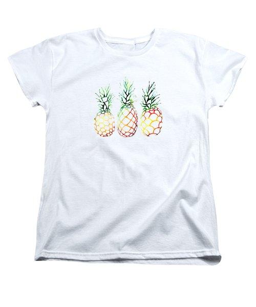 Retro Pineapples Women's T-Shirt (Standard Cut) by Sam Nagel
