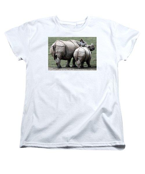 Rhinoceros Mother And Calf In Wild Women's T-Shirt (Standard Cut) by Daniel Hagerman