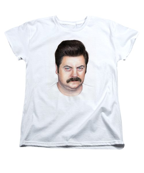 Ron Swanson Portrait Nick Offerman Women's T-Shirt (Standard Cut) by Olga Shvartsur