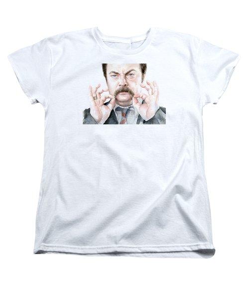 Ron Swanson Mustache Portrait Women's T-Shirt (Standard Cut) by Olga Shvartsur