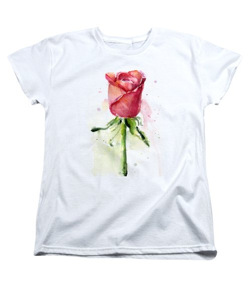Rose Watercolor Women's T-Shirt (Standard Cut) by Olga Shvartsur