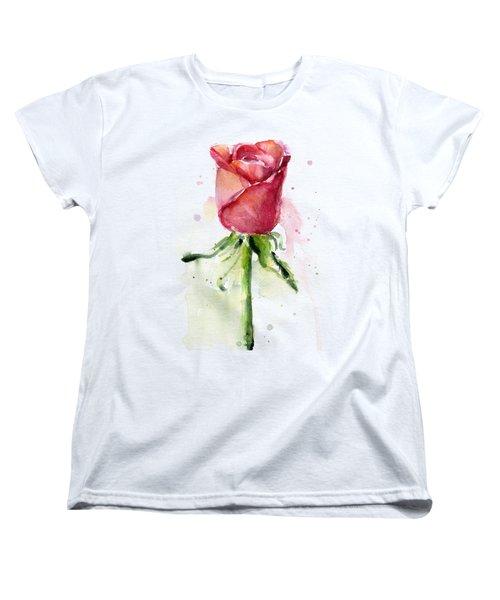Rose Watercolor Women's T-Shirt (Standard Cut) by Olga Shvartsur