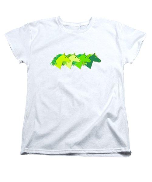 Running Horse Lime Women's T-Shirt (Standard Cut) by Alexsan
