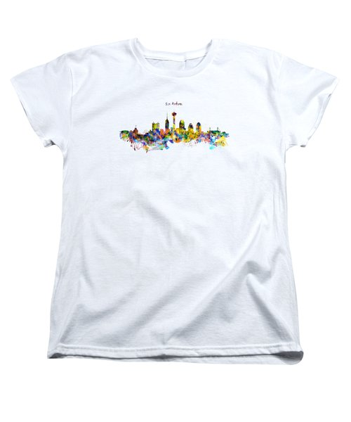 San Antonio Skyline Silhouette Women's T-Shirt (Standard Cut) by Marian Voicu