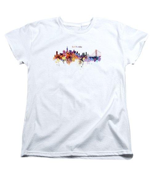San Francisco Watercolor Skyline Women's T-Shirt (Standard Cut) by Marian Voicu
