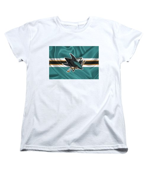 San Jose Sharks - 3 D Badge Over Silk Flagsan Jose Sharks - 3 D Badge Over Silk Flag Women's T-Shirt (Standard Cut) by Serge Averbukh