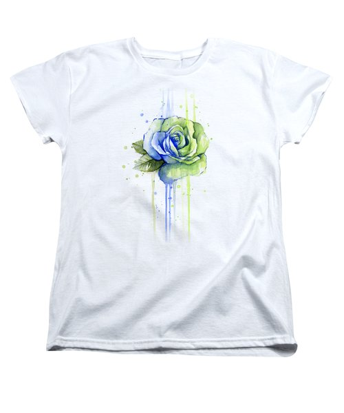 Seattle 12th Man Seahawks Watercolor Rose Women's T-Shirt (Standard Cut) by Olga Shvartsur