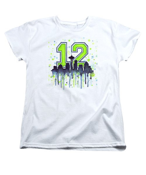 Seattle Seahawks 12th Man Art Women's T-Shirt (Standard Cut) by Olga Shvartsur
