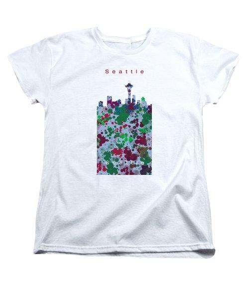 Seattle Skyline .3 Women's T-Shirt (Standard Cut) by Alberto RuiZ
