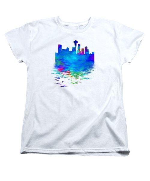 Seattle Skyline, Blue Tones On White Women's T-Shirt (Standard Cut) by Pamela Saville