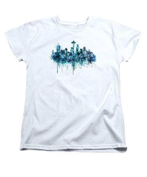 Seattle Skyline Monochrome Watercolor Women's T-Shirt (Standard Cut) by Marian Voicu
