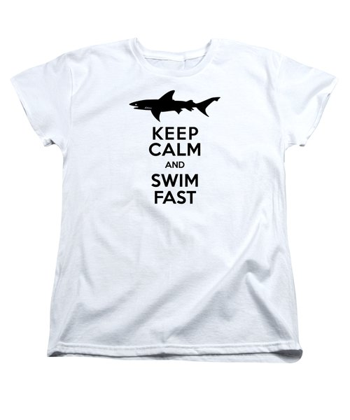 Sharks Keep Calm And Swim Fast Women's T-Shirt (Standard Cut) by Antique Images