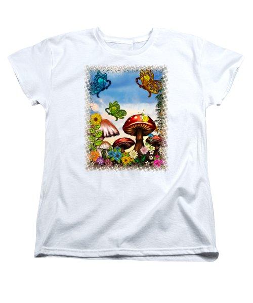 Shroomvilla Summer Fantasy Folk Art Women's T-Shirt (Standard Cut) by Sharon and Renee Lozen