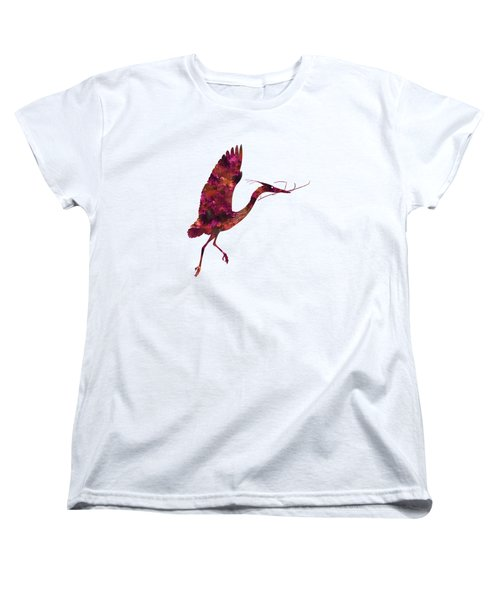 Colorful Great Blue Heron Silhouette Women's T-Shirt (Standard Cut) by Shara Lee