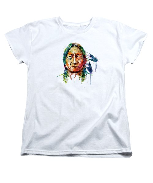 Sitting Bull Watercolor Painting Women's T-Shirt (Standard Cut) by Marian Voicu