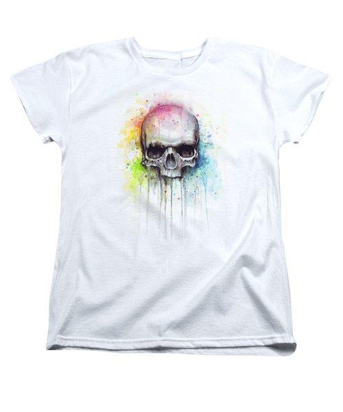Skull Watercolor Painting Women's T-Shirt (Standard Cut) by Olga Shvartsur