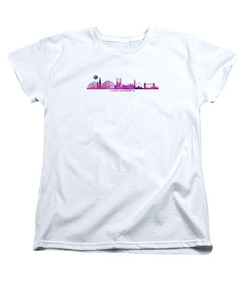 skyline city London purple Women's T-Shirt (Standard Cut) by Justyna JBJart