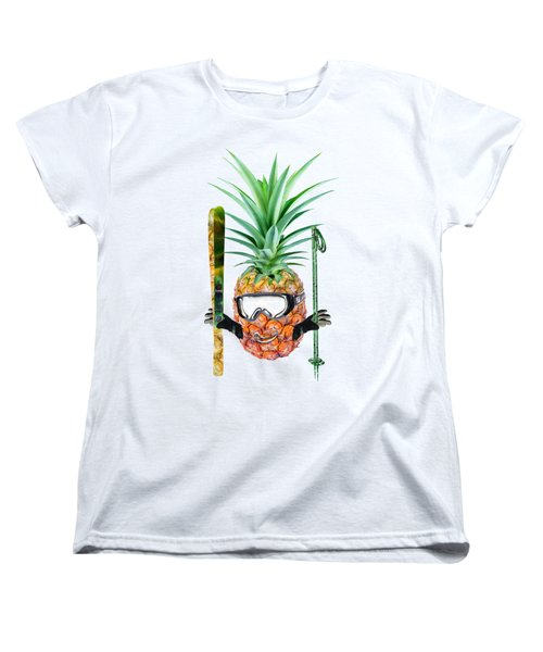 Smiling Pineapple-downhill Skier Women's T-Shirt (Standard Cut) by Elena Nikolaeva
