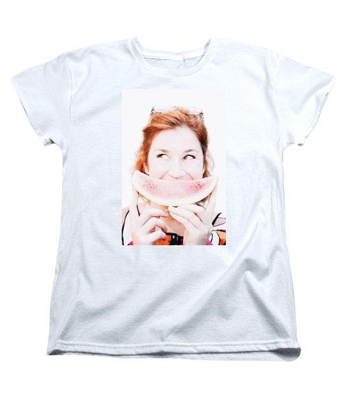 Smiling Summer Snack Women's T-Shirt (Standard Cut) by Jorgo Photography - Wall Art Gallery