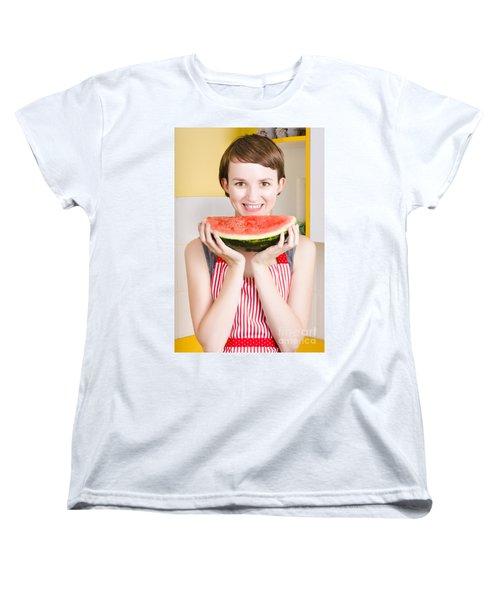 Smiling Young Woman Eating Fresh Fruit Watermelon Women's T-Shirt (Standard Cut) by Jorgo Photography - Wall Art Gallery